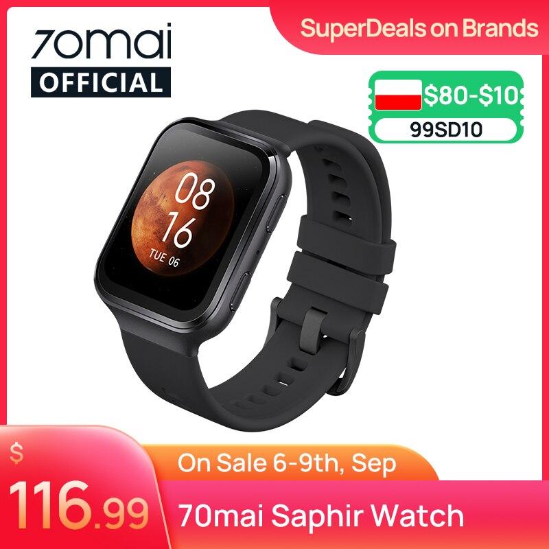 70mai Smart Watch 70mai Saphir Watch Bluetooth GPS Heart Rate Monitor 5ATM Resistance Call Reminder 70mai Smartwatch