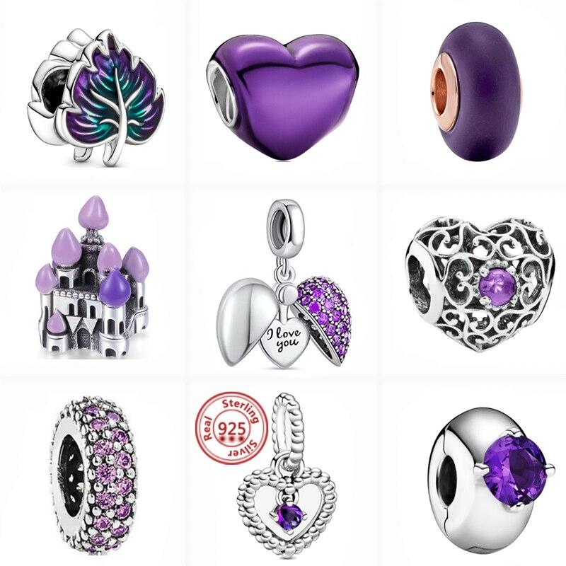 2021 New Purple Zircon Hand-Painted Heart I Love You Shiny Beads Fit Original Pandora Charms Bracele
