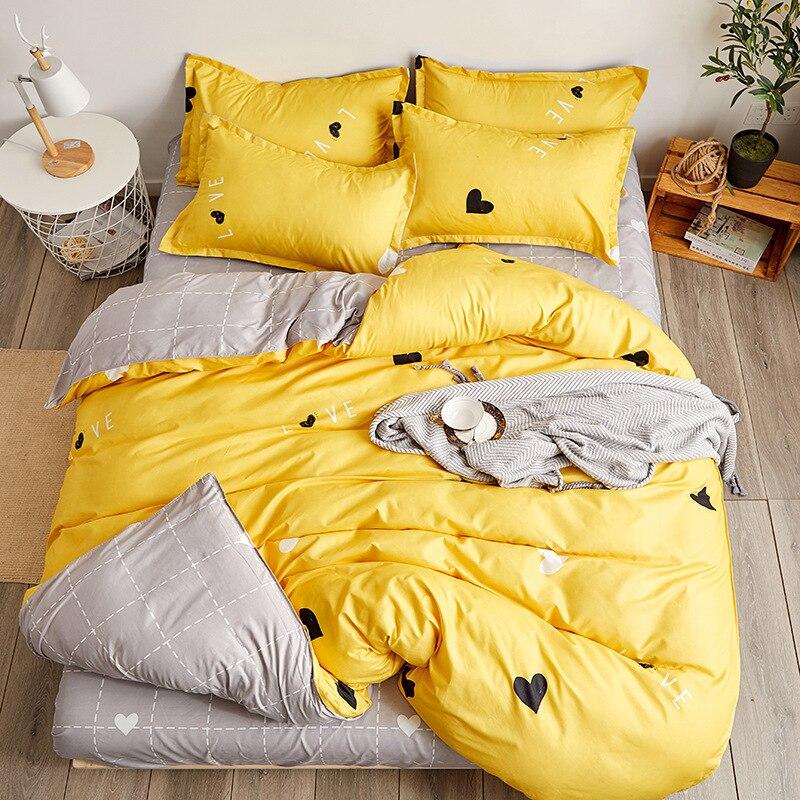 Mejor WENSD ropa de cama conjunto amarillo única persona doble en forma de corazón de ropa de cama conjunto de funda de edredón sábana beddengoed roupa de cama