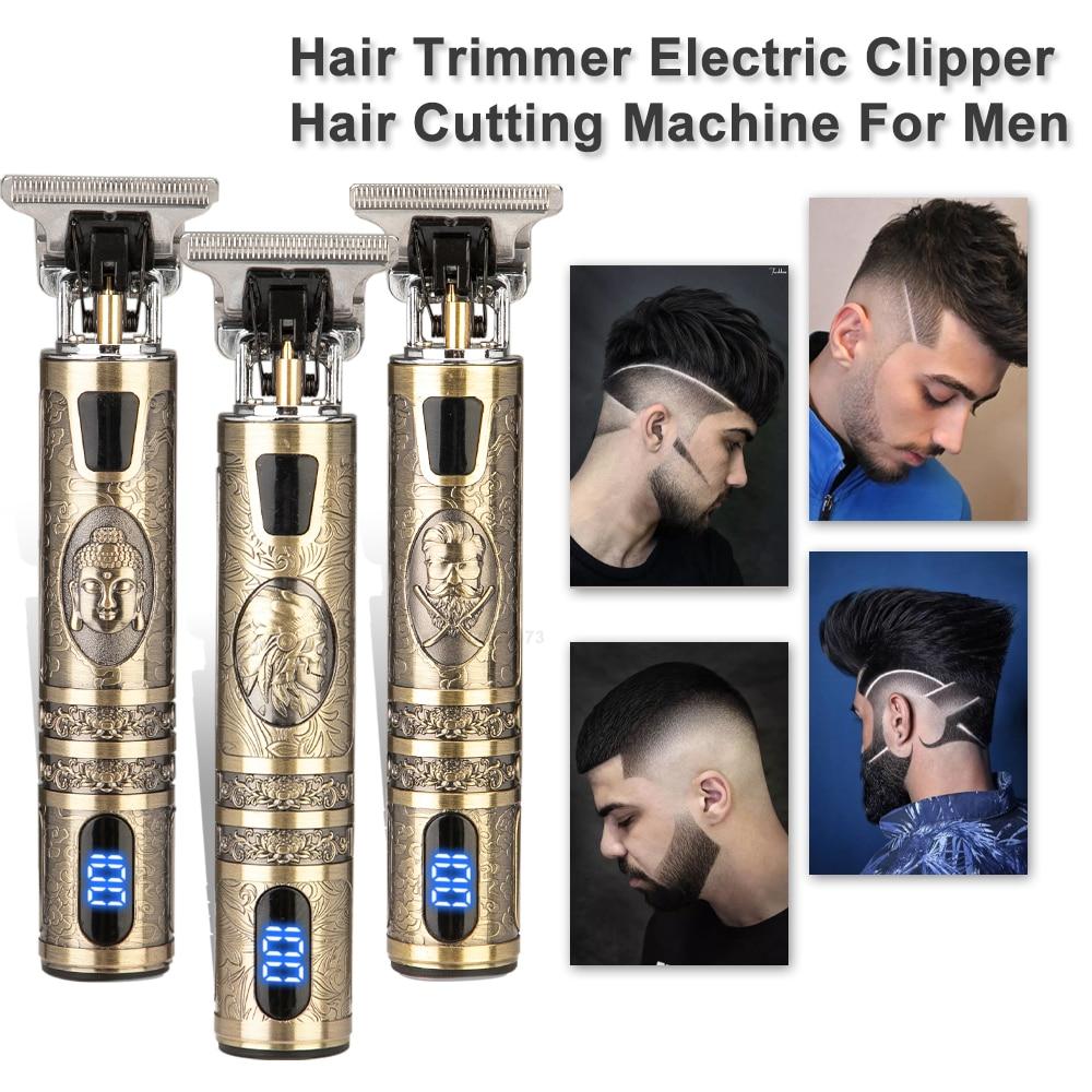 2021 USB T9 الشعر المتقلب LCD مقص الشعر الرقمي قابلة للشحن مقص الشعر الكهربائية الرجال اللاسلكي ماكينة حلاقة المتقلب الرجال الحلاق متجر