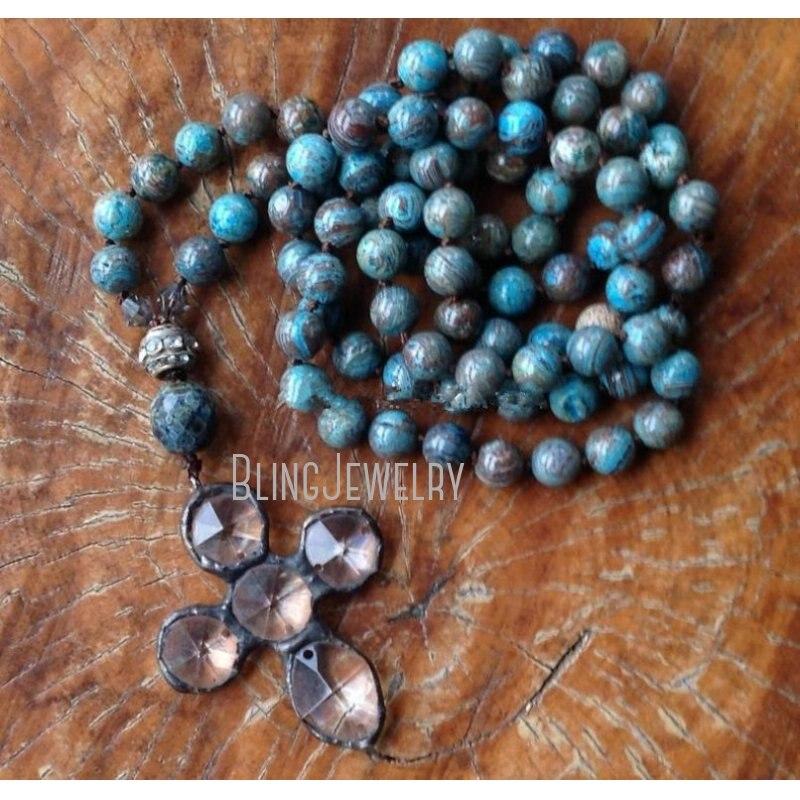 NM37563  Boho Cross Necklace Unique Fashion Statement Necklace Soldered Cross Pendant Hand Knot Necklace Unique Accessory