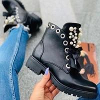 black women boots ankle motorcycles biker pearl platform thick heel round toe zip cross tied handmade casual shoes ladies 2020