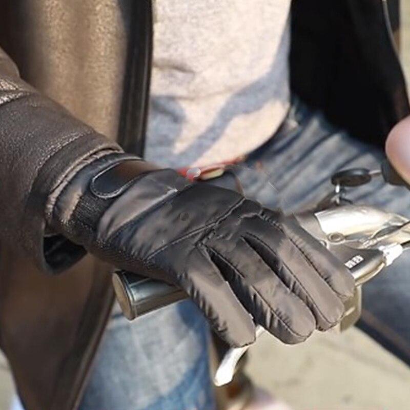 Мужские зимние мотоциклетные перчатки, кожаные ветрозащитные водонепроницаемые теплые спортивные кожаные перчатки для вождения, мужские ...