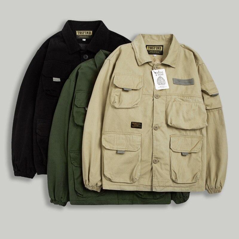 Демисезонные мужские куртки, новые стильные куртки, повседневная рабочая одежда с несколькими карманами, куртки с лацканами, однобортные к...