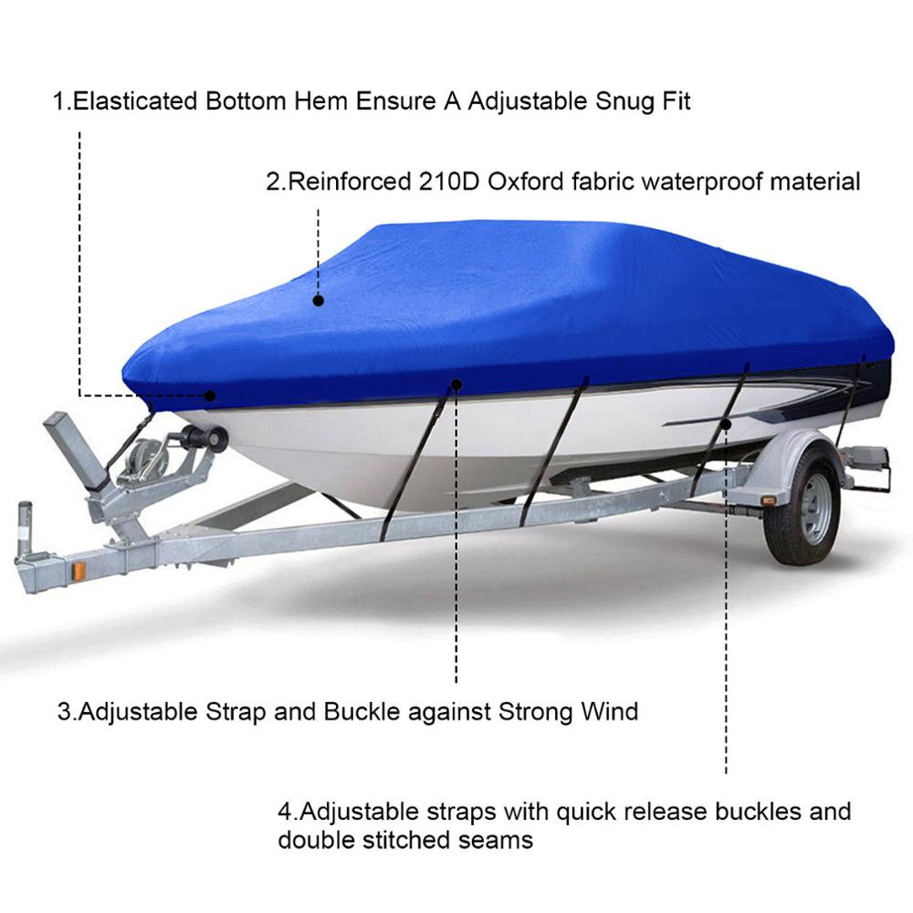 20ft 21ft 22ft 210D Denier Trailerable Boat Covers Water proof Rain Proof SUN UV Protector Speedboat Boat Cover Fishing enlarge