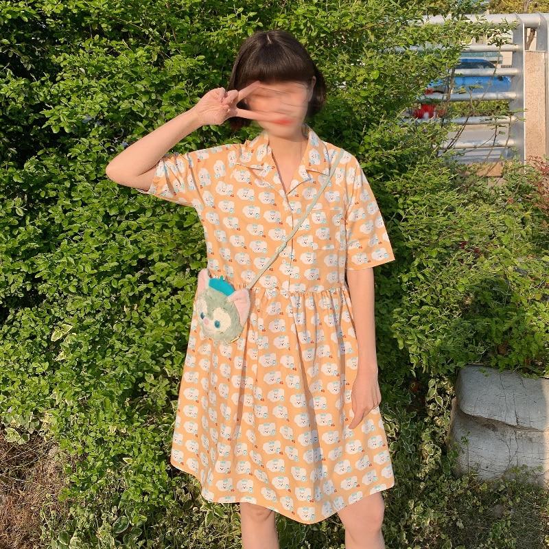 Casual Loose Preppy Style Women Chiffon Dress Short Sleeve Cute Cloud Full Print Summer New Arrivals