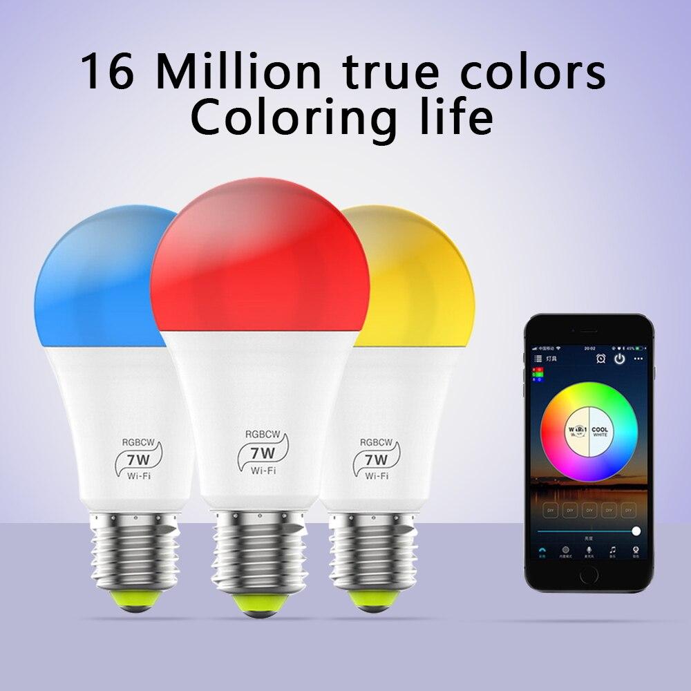 Фото - Умная светодиодная лампочка с Wi-Fi, умная лампочка E27, 220 В, меняющая цвет, лампочка RGBCW, 7 Вт, лампочка с Wi-Fi Alexa для дома лампочка