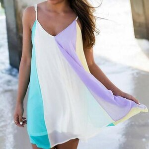 Women Beach Dress Colorful Female Summer Dress Chiffon Voile Women Dress Summer Style Women Clothing Plus Size