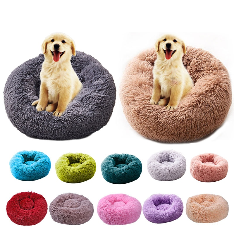 Long Plush Super Soft Pet Bed Kennel Dog Round Cat Winter Warm Sleeping Bag Puppy Cushion Mat Portable Cat Supplies