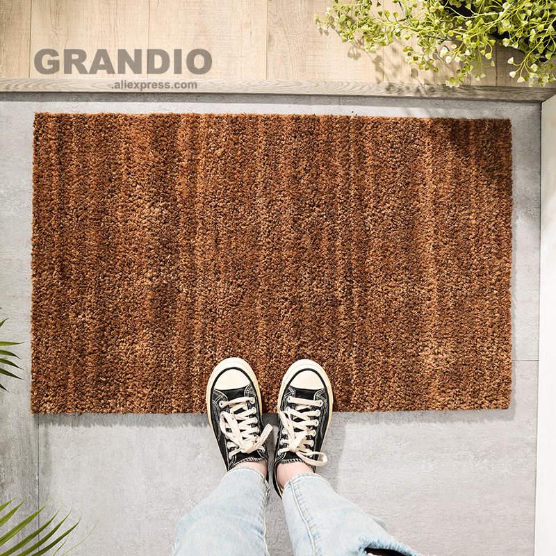 Coco Coir Front Door Mat Ourdoor Entrance Doormat 40x60cm Yellow Thick Heavy PVC Backing Anti-Slip Floor Carpet Shoes Clean Mat