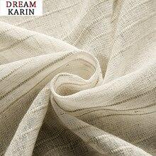 Rideau en lin pur rayé de Style japonais   Pour décoration de salon et de chambre à coucher, rideaux en Tulle modernes pour fenêtre, rideaux de cuisine