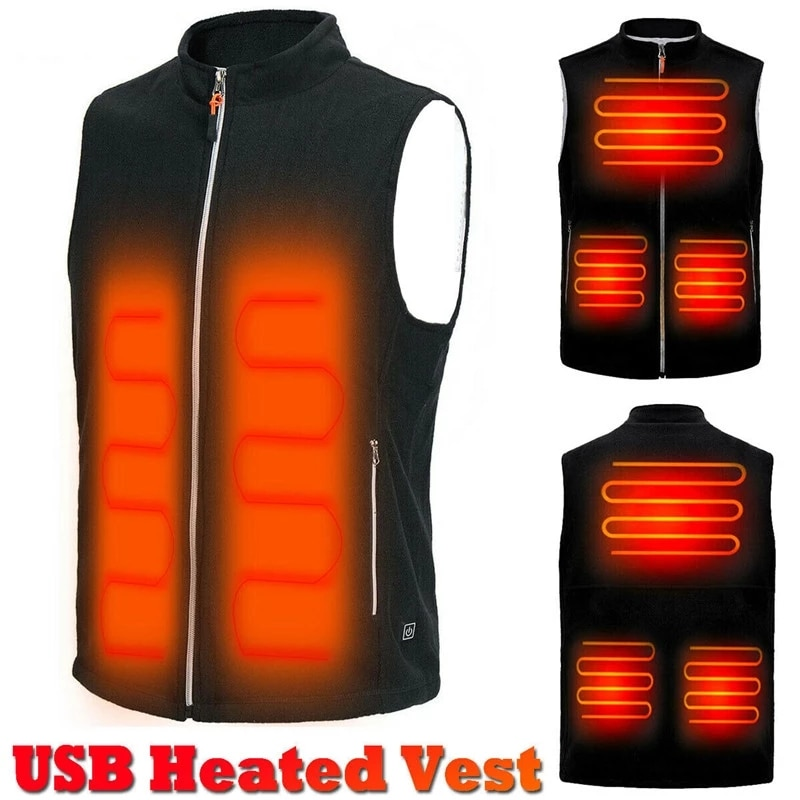 5 Heating Areas Men Autumn Winter Warm Electric Thermal Cloth Waistcoat Fish Hiking Outdoor USB Infr