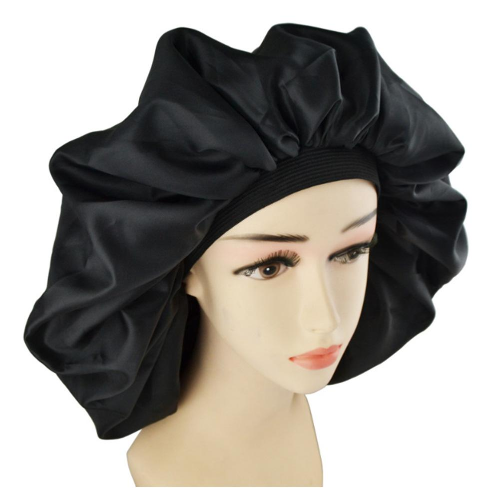 High Quality Super Giant Sleep Cap Waterproof Shower Cap Female Hair Care Protect Hair Large Satin Silk Bonnet Sleep Cap Luxurio enlarge