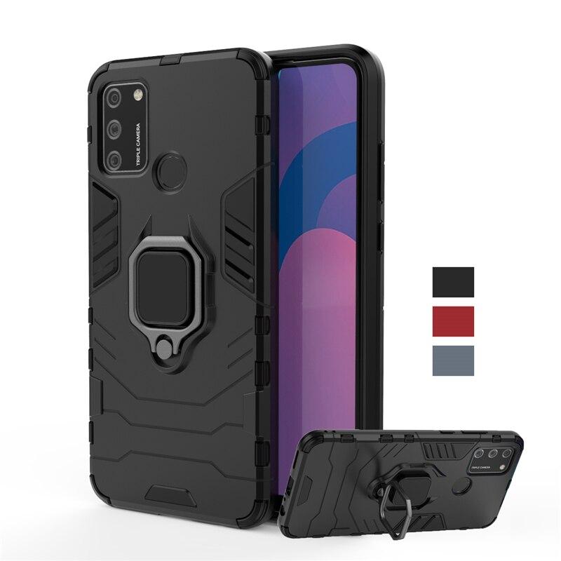 Para Huawei Honor 9A caso Honor 9S 9C 9X Pro Lite anillo magnético titular de armadura de parachoques del teléfono caso de la contraportada de Honor 9A