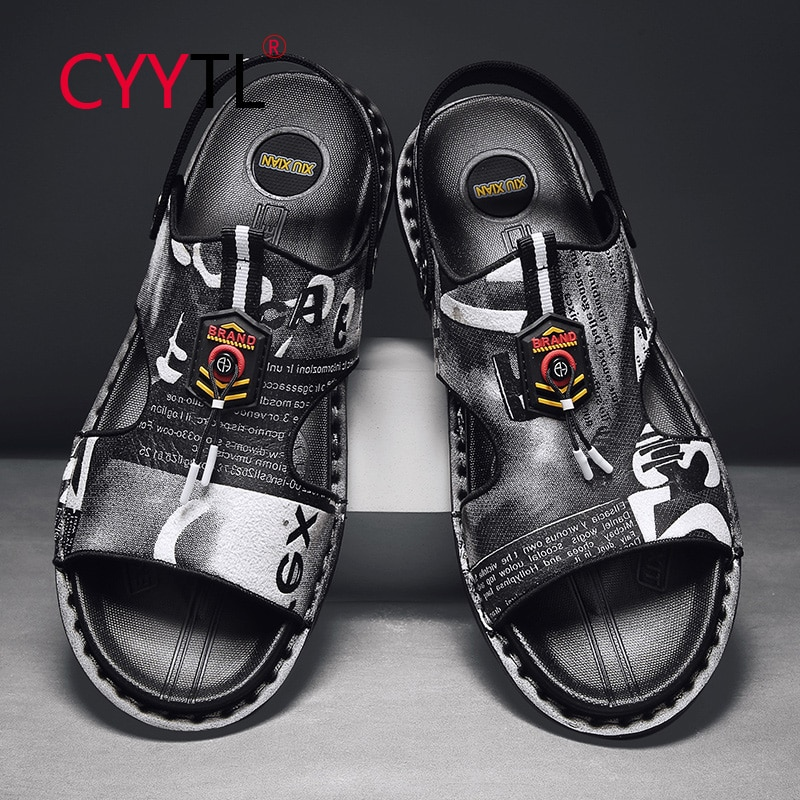 CYYTL Fashion Men's Summer Sandals Leather Printed Outdoor Casual Dual-use Slippers Beach Shoes Thick Sole Open Toe Sandales