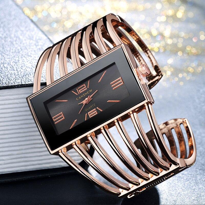 Rectangle Big Watch Women Hollow Out Wide Bangle Luxury Bracelets Rose Gold Quartz Wrist Watches For Women Clock Ladies Dresses