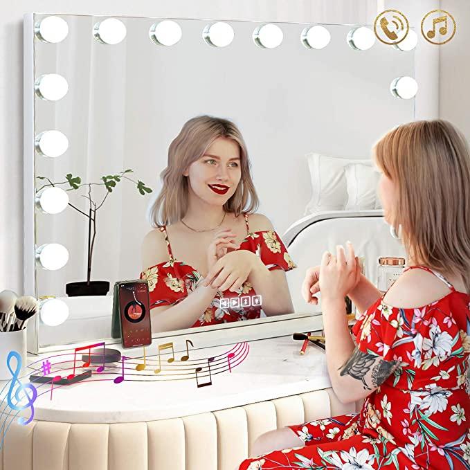 بلوتوث ماكياج المرآة البالونية مع أضواء كبيرة مضاءة هوليوود المرآة البالونية لسطح الطاولة الحائط USB شحن ميناء