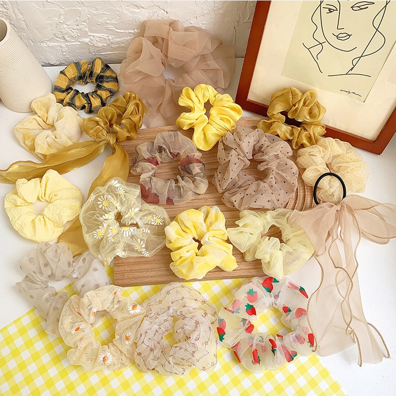 Ruoshui Woman Yellow Colors Scrunchies Hair Ties Girls Ponytail Holders Hair Rope Gum Hair Ornaments Headwear Rubber Band