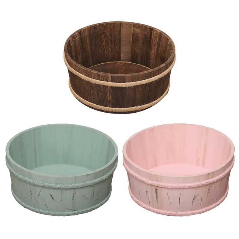 Newborn Photography Props Wooden Basin Full Moon Infants Baby Pose Auxiliary Photo Shooting Basket