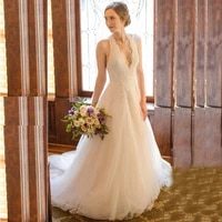 latest charming a line ivory lace open back wedding dresses for bride halter sleeveless bridal wedding gowns court train 2021