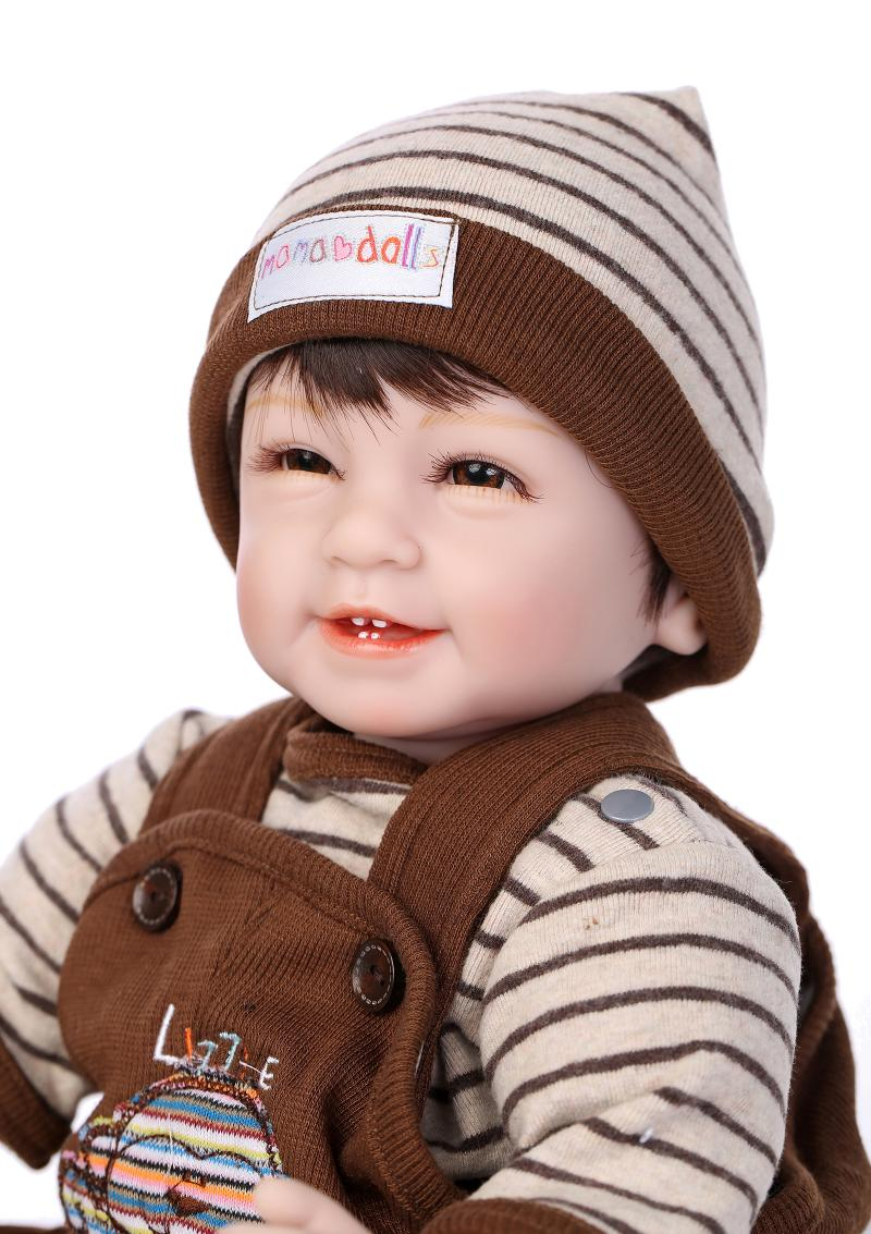 Smiley Four teeth doll bebe reborn 22 inch realistic boy silicone reborn baby dolls gift