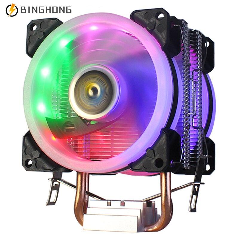BINGHONG 2 Heatpipes CPU برودة 90 مللي متر 4PIN PWM كفاءة وحدة المعالجة المركزية التبريد RGB المشجعين ل LGA 775 1150 1151 1155 1156 1356 1366 AM3 AM4