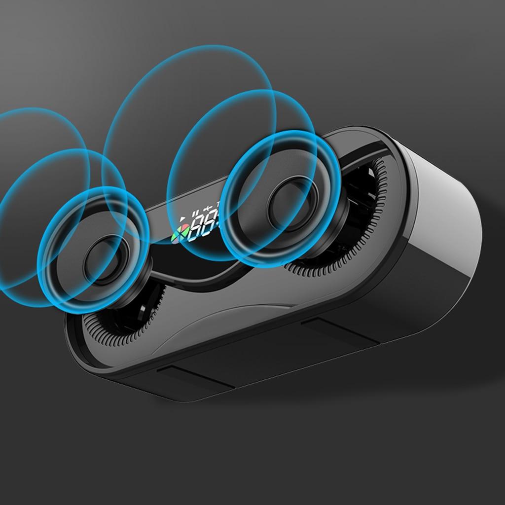 Bluetooth 5.0 Speaker Portable Multi-functional Wireless Outdoor Handfree Call Multifunction Speaker with FM Radio Clock TF Card enlarge