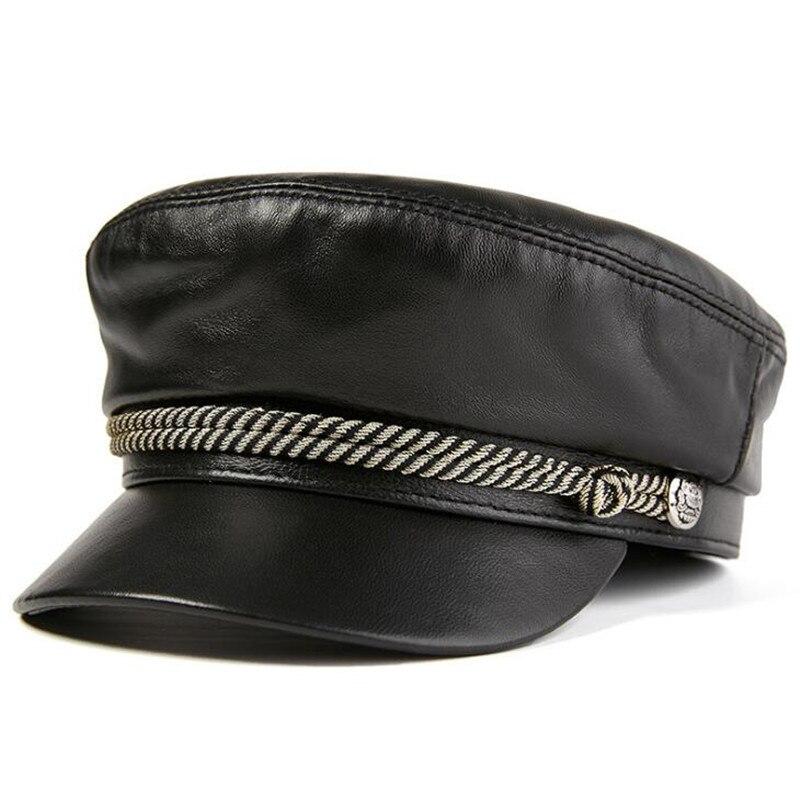 XdanqinX-قبعات مسطحة أنيقة للنساء ، قبعات عسكرية ، قبعة نسائية من الجلد الطبيعي ، قبعة عتيقة من جلد الغنم البريطاني