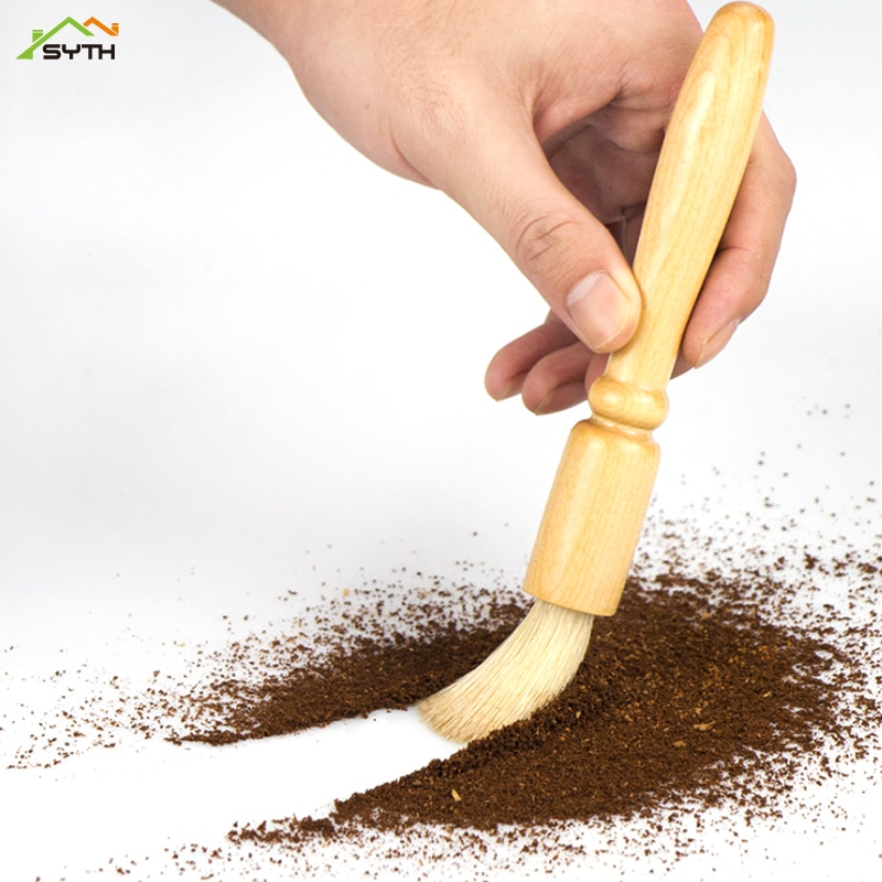 3pcs Bean grinder cleaning brush coffee powder with wooden handle pig bristle