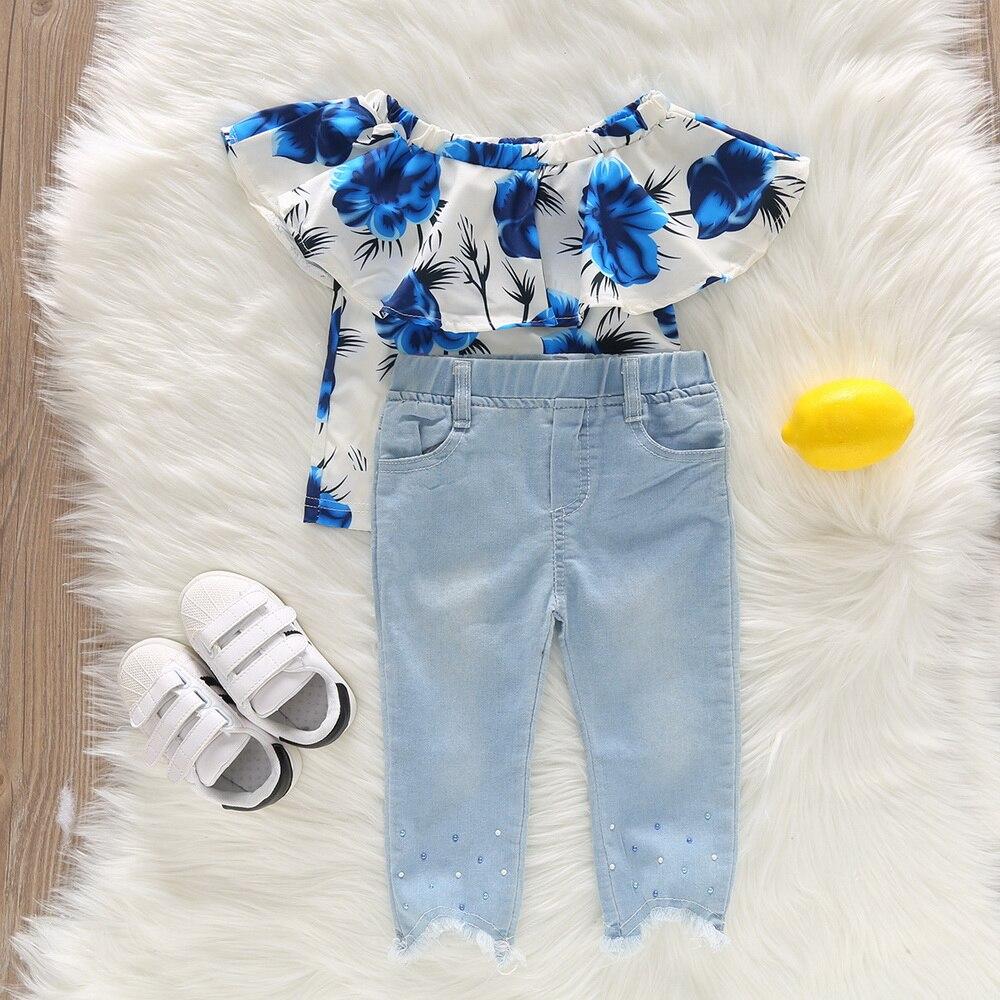 Conjunto de ropa vaquera con volantes para niñas, colección de verano 2020, rosa azul, ropa vaquera para niñas, 2 uds, camisetas + pantalón vaquero, conjuntos para niñas, D30