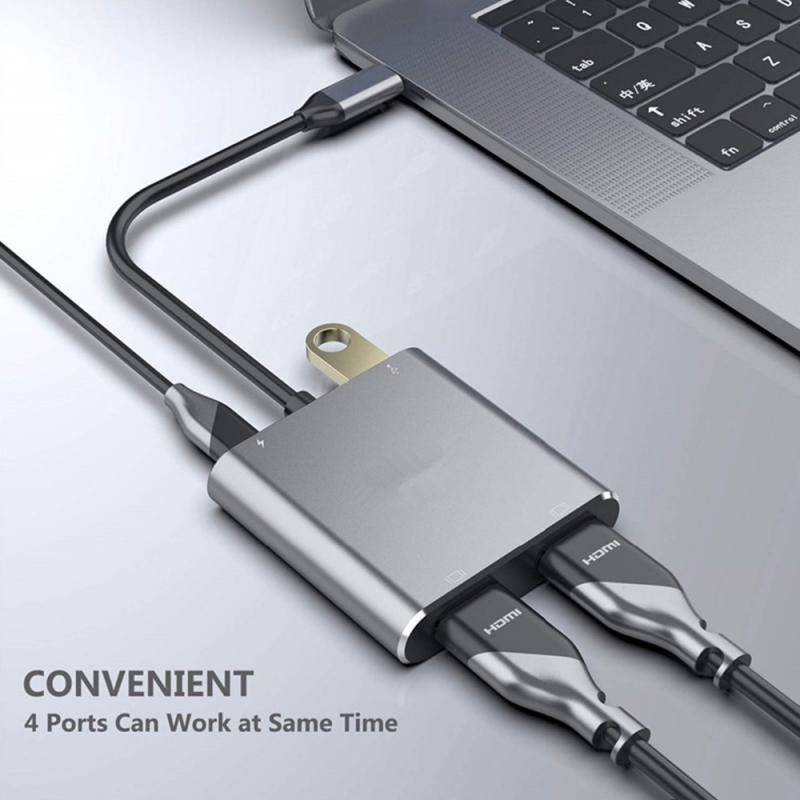 Cable Micro Adaptador tipo C a HDTV * 2 + USB + PD MST, 4K, USB C a puerto de carga Dual PD, convertidor de USB-C para MacBook y Samsung