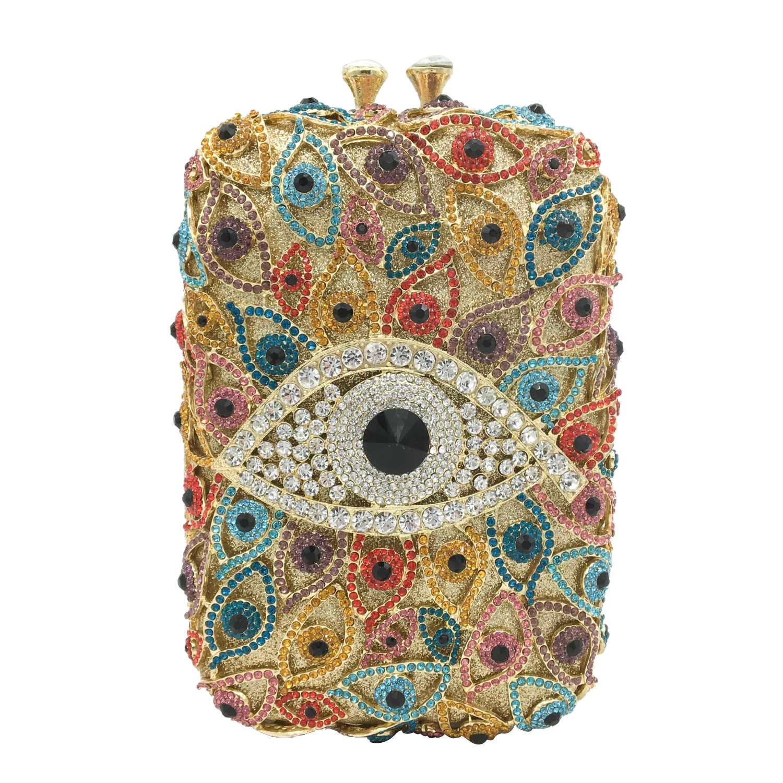 Boutique De FGG-حقيبة يد نسائية من الكريستال ، حقيبة يد نسائية متعددة الألوان بتصميم عين الشر ، لحفلات الكوكتيل وحجر الراين