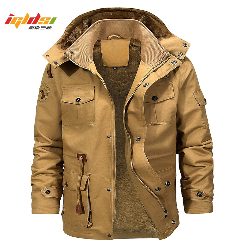 Men's Military Winter Fleece Inner Jacket Casual Thick Thermal Coat Army Pilot Jackets Air Force Cargo Outwear Hooded Jacket 4XL