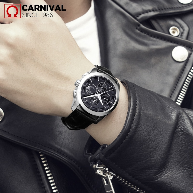 CARNIVAL Fashion Sports Men 24 Hour Display Automatic Mechanical Watch Stainless Steel Strap Waterproof Watches Relogio Masculin enlarge