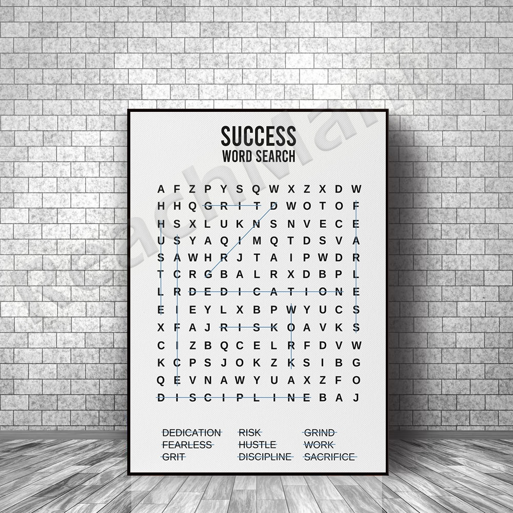 Success Word Search Motivation Office Decoration Funny Gift Business Entrepreneur Inspiration Self-Employed Boss Gift Poster Pri