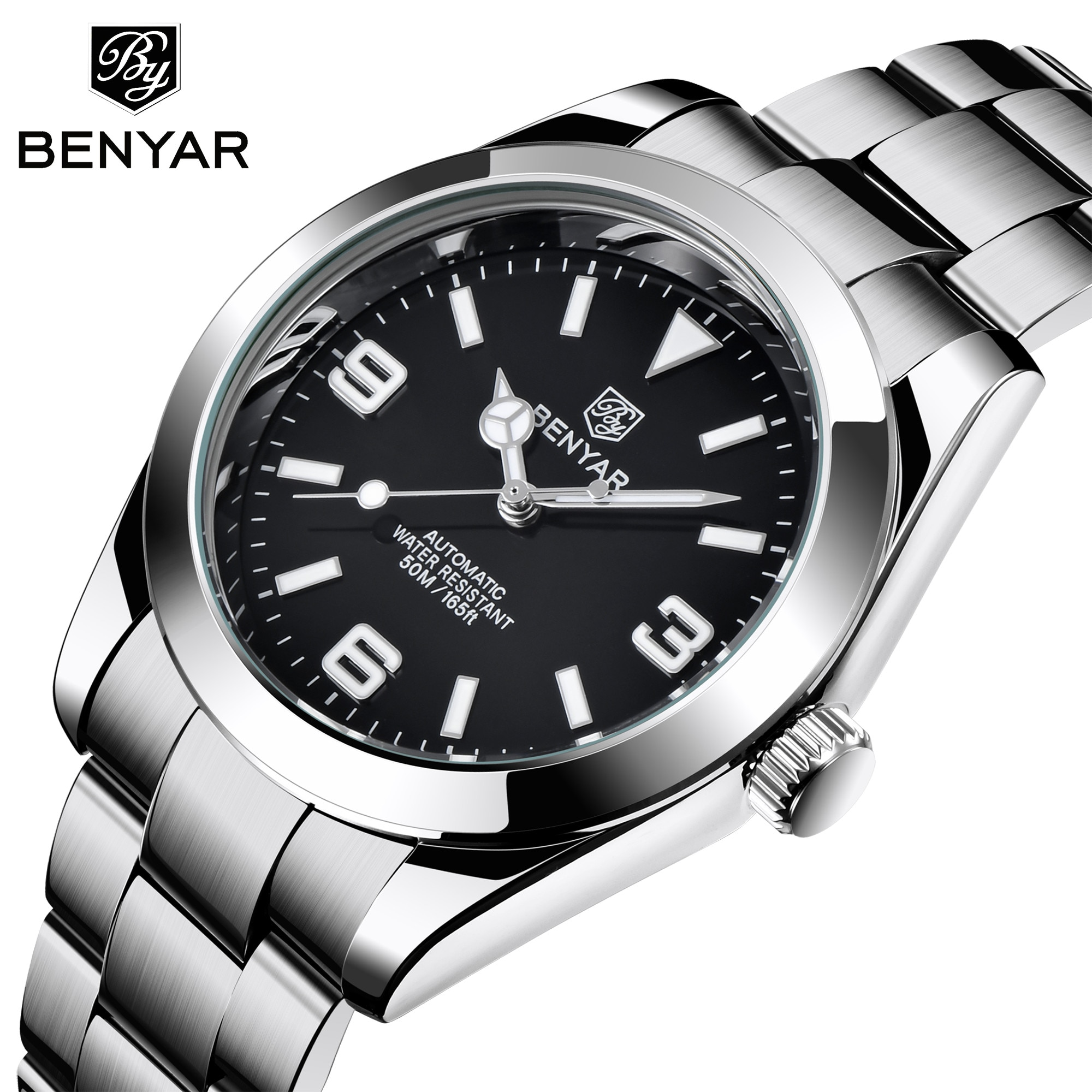 Marca de Luxo Relógio de Pulso para Homem à Prova Relógio de Pulso Nova Benyar Relógios Masculinos Automáticos Aço Inoxidável Dwaterproof Água Luminosa Negócios 2021