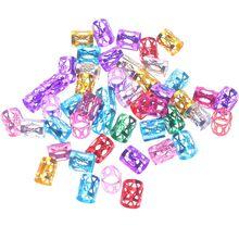 50pcs 8mm 6 couleurs perles mélangées tresses de cheveux réglables perles de Dreadlock boucles de tresse de cheveux réglables Clips de manchette Tubes bijoux