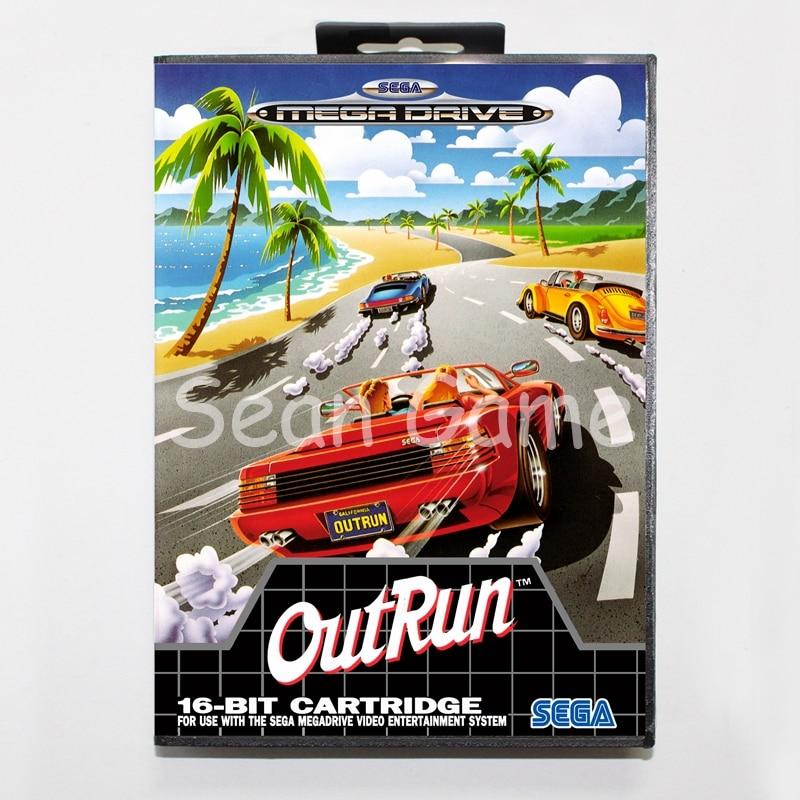 Tarjeta de juego de 16 bits MD para Sega Mega Drive Outrun Cover con caja de venta al por menor
