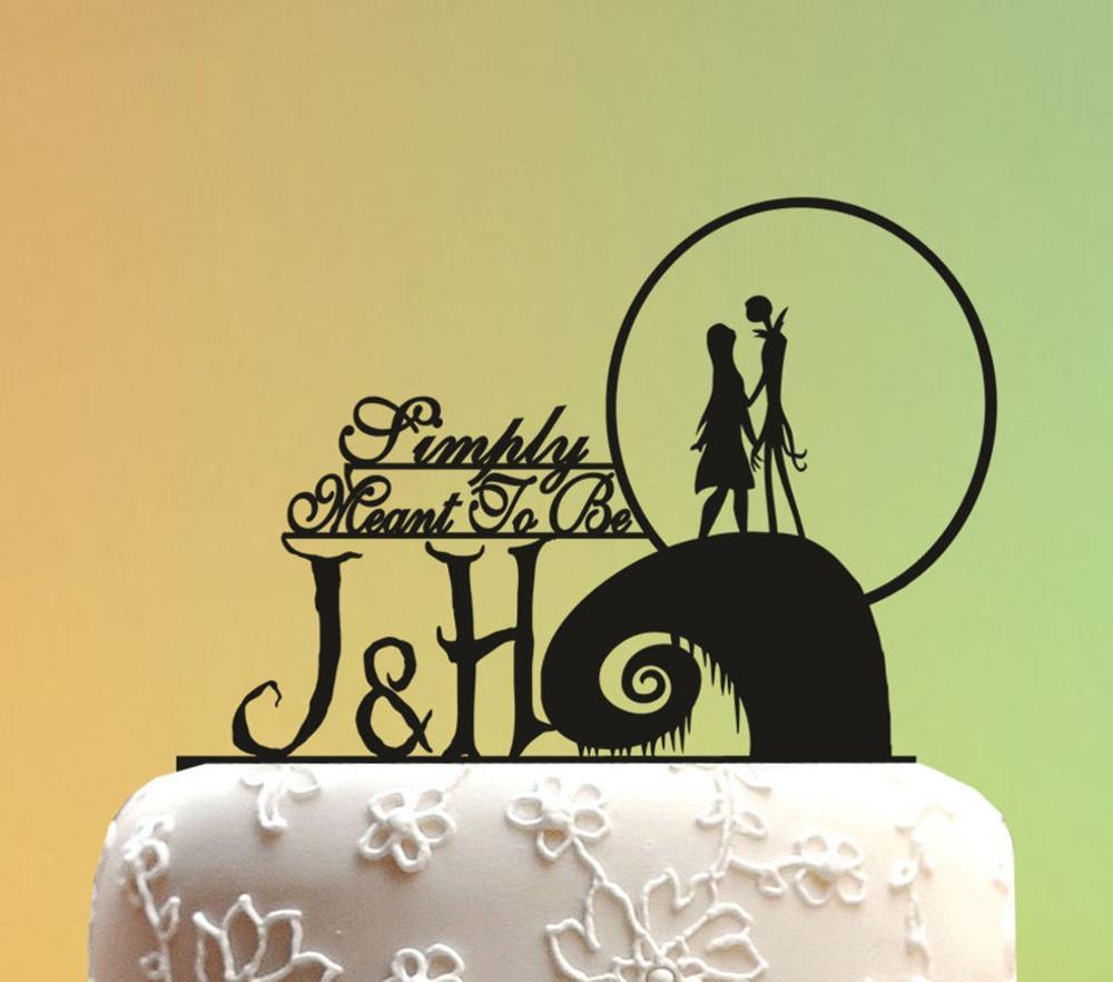 Adorno de pastel de boda, adorno de pastel de boda, adorno de pastel de boda, pesadilla antes de Navidad, monograma tope de torta de boda
