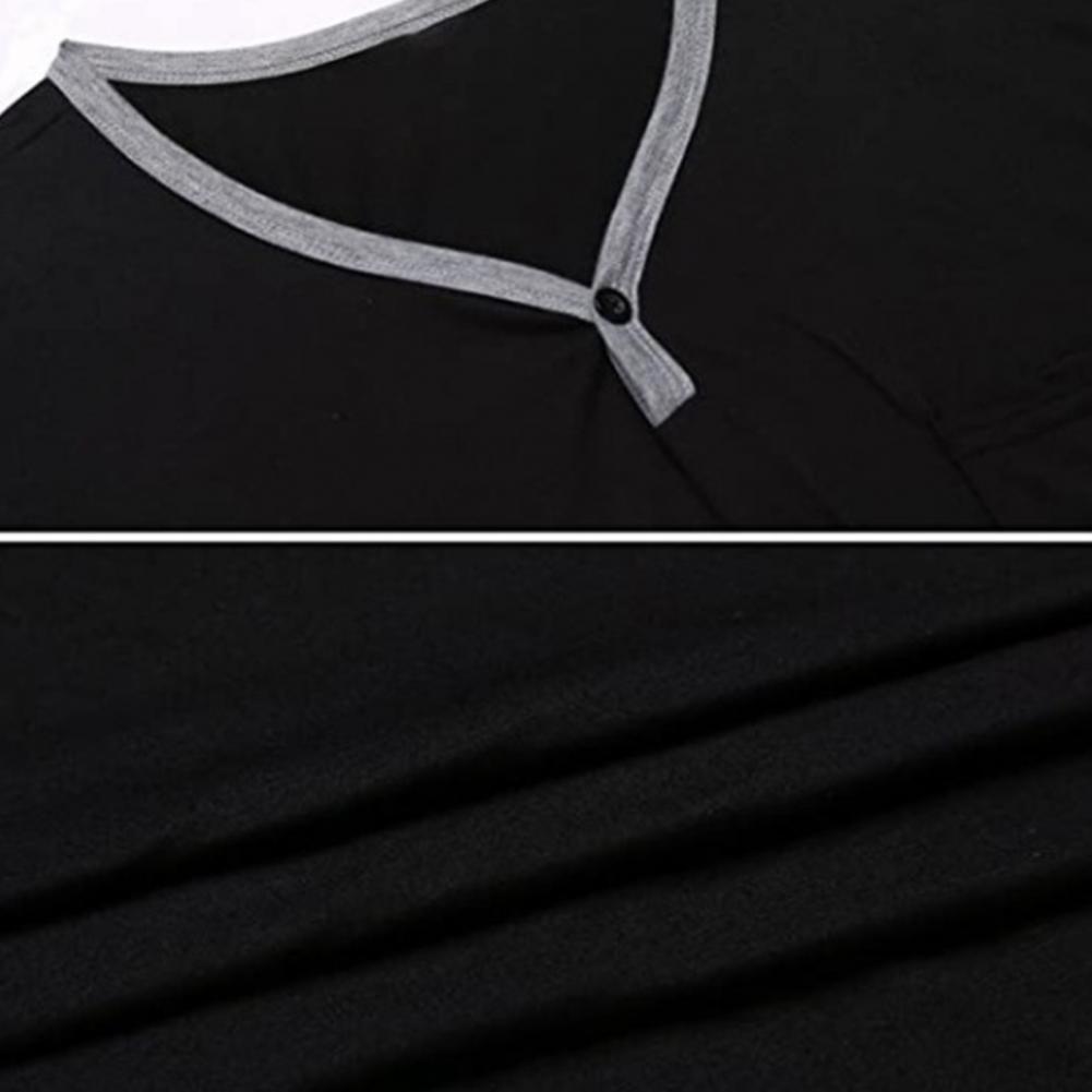 2021 новинка мода мужчины с короткими рукавами круглым вырезом карман ночная рубашка свободные до колен ночная рубашка домашняя одежда