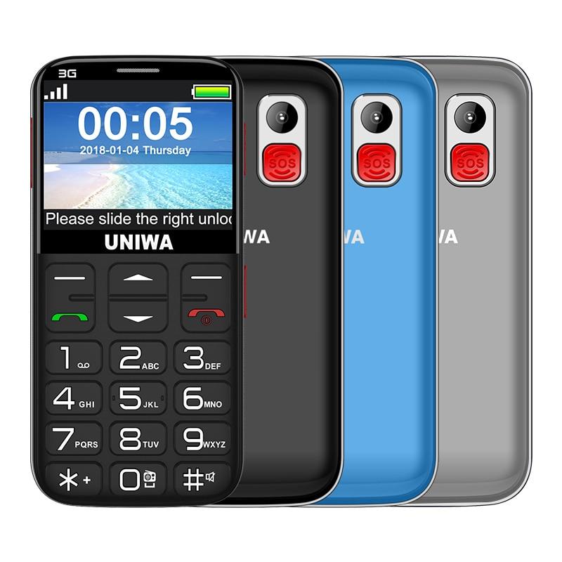 UNIWA V808G 2.31 بوصة الهاتف المحمول 3G WCAMA الهاتف المحمول لكبار السن SOS 1400mAh لوحة مفاتيح روسية 2G خلية لكبار السن