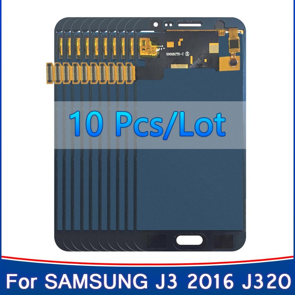 10 peças/lote SM-J320FN/f/m/h/ds para galaxy j3 2016 j320 display lcd + tela de toque j320f j320fn j320h j320m ajustar o brilho
