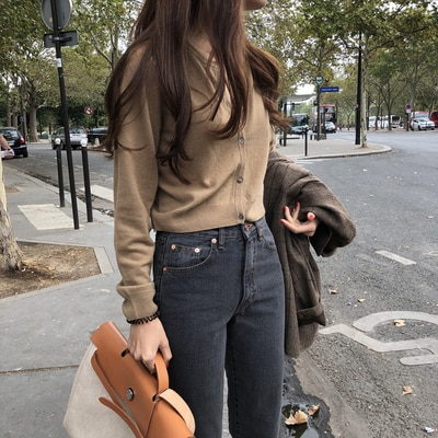 Fall 2020 Korean Style Chic Basic Solid Color Stacked Match Sweater Cardigan Age-Reducing Single-Bre