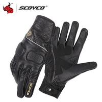 SCOYCO Retro Perforated Motorcycle Gloves Summer Breathable Leather Guantes Moto Men Motocross Gloves Luvas Da Motocicleta