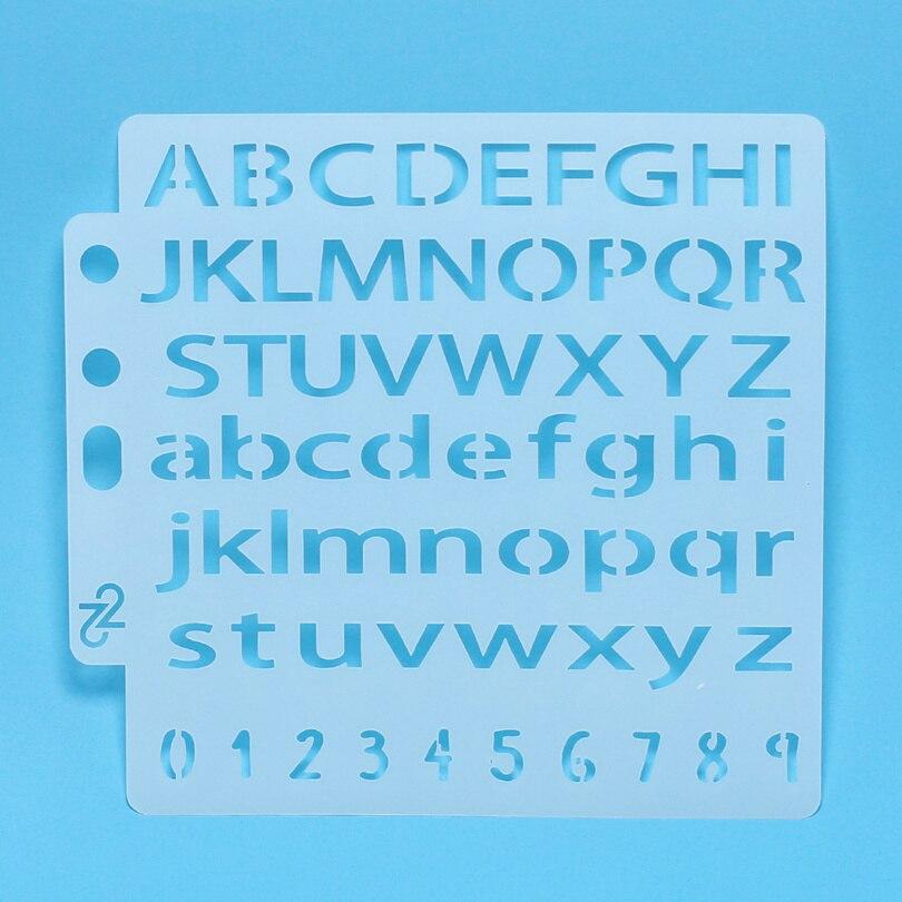 Calcomanía superior/minúscula alfabeto inglés esténcil pintura Scrapbooking/fabricación de tarjetas/Decoración de pastel de café de Navidad
