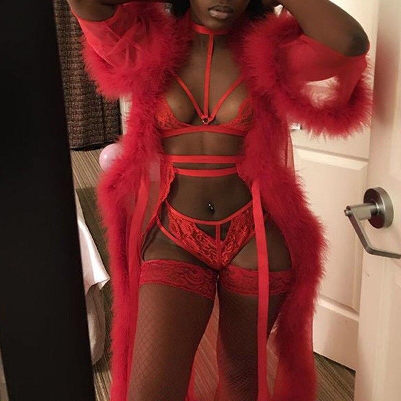 Sexy vermelho renda longa pele robe vestido sleepwear lingerie roupão roupa de noite roupa interior babydoll pele maxi vestido
