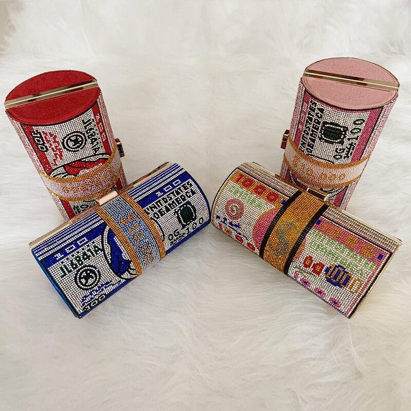 محفظة فاخرة بأحجار الراين ، محفظة فاخرة ، حقيبة سهرة ، حقيبة كتف متعددة الاستخدامات ، ملونة