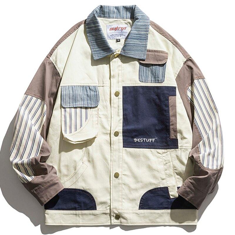رجل Jackets السترات خليط المتضخم الهيب هوب متعددة جيب بوتون البضائع معاطف السترة Harajuku للجنسين ملابس خارجية فضفاضة عادية