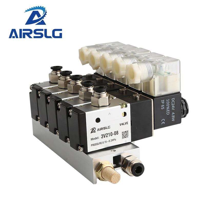3V110-06-NC عادة إغلاق كتلة صمام الملف اللولبي الكهرومغناطيسي مع قاعدة تركيب كاتم للصوت مشعب DC12v 24 فولت التيار المتناوب 110 فولت 220 فولت 3 ميناء