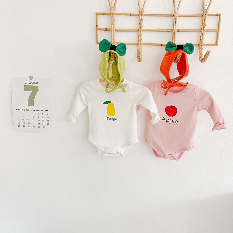 Milancel 2020 outono bebê bodysuit bebê meninos roupas de frutas impressão do bebê meninas conjunto bodysuit bebê coelho chapéu inewborn roupa do bebê